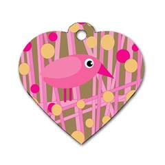 Pink bird Dog Tag Heart (Two Sides)