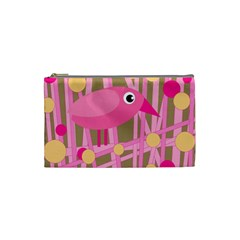 Pink bird Cosmetic Bag (Small)