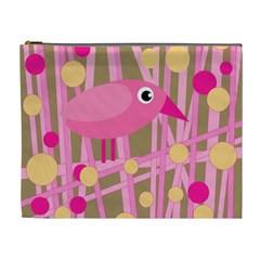 Pink bird Cosmetic Bag (XL)