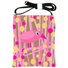 Pink bird Shoulder Sling Bags
