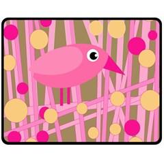 Pink bird Fleece Blanket (Medium)