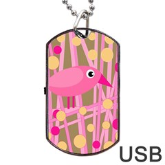 Pink Bird Dog Tag Usb Flash (one Side)