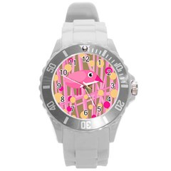 Pink bird Round Plastic Sport Watch (L)