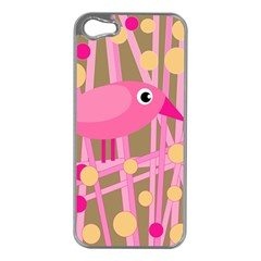 Pink bird Apple iPhone 5 Case (Silver)