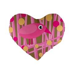 Pink bird Standard 16  Premium Heart Shape Cushions