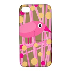 Pink bird Apple iPhone 4/4S Hardshell Case with Stand
