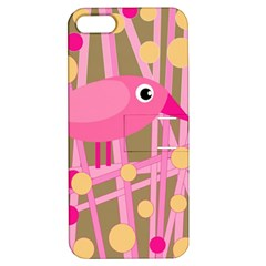 Pink bird Apple iPhone 5 Hardshell Case with Stand