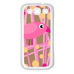 Pink bird Samsung Galaxy S3 Back Case (White)