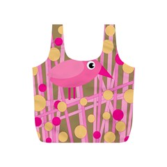 Pink bird Full Print Recycle Bags (S)