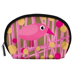 Pink bird Accessory Pouches (Large)