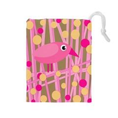 Pink bird Drawstring Pouches (Large)