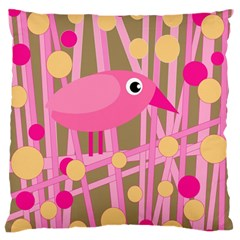 Pink bird Large Flano Cushion Case (Two Sides)