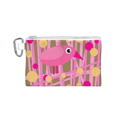 Pink bird Canvas Cosmetic Bag (S)