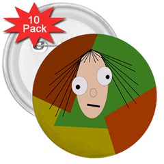 Crazy girl 3  Buttons (10 pack)