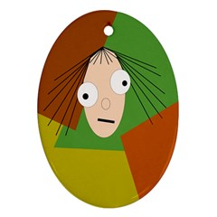 Crazy girl Oval Ornament (Two Sides)