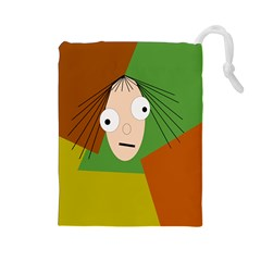 Crazy girl Drawstring Pouches (Large)
