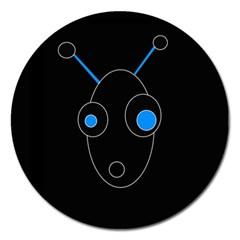 Blue alien Magnet 5  (Round)