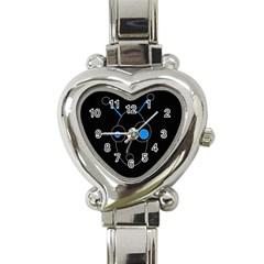 Blue alien Heart Italian Charm Watch