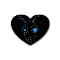 Blue alien Rubber Coaster (Heart)