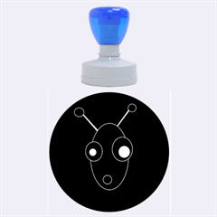 Blue alien Rubber Round Stamps (Large)