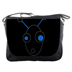 Blue alien Messenger Bags