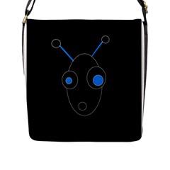 Blue alien Flap Messenger Bag (L)