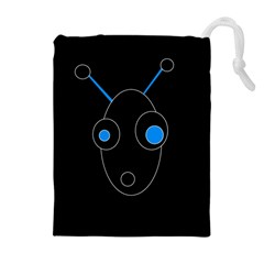 Blue alien Drawstring Pouches (Extra Large)