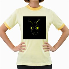 Yellow alien Women s Fitted Ringer T-Shirts