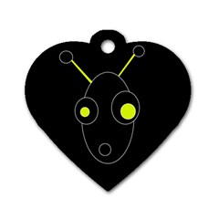 Yellow alien Dog Tag Heart (Two Sides)