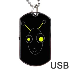 Yellow alien Dog Tag USB Flash (Two Sides)