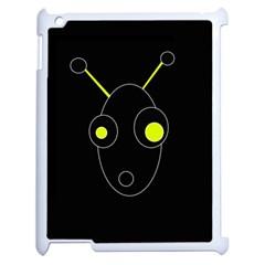 Yellow alien Apple iPad 2 Case (White)