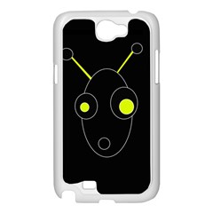 Yellow alien Samsung Galaxy Note 2 Case (White)