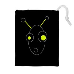 Yellow alien Drawstring Pouches (Extra Large)