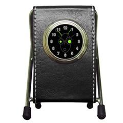 Green alien Pen Holder Desk Clocks