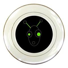 Green alien Porcelain Plates