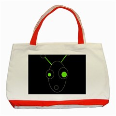 Green alien Classic Tote Bag (Red)