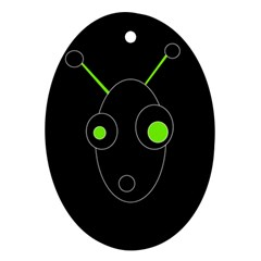Green alien Oval Ornament (Two Sides)