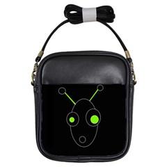 Green alien Girls Sling Bags
