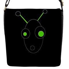Green alien Flap Messenger Bag (S)