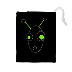 Green alien Drawstring Pouches (Large)