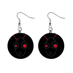 Red Alien Mini Button Earrings