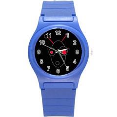 Red alien Round Plastic Sport Watch (S)