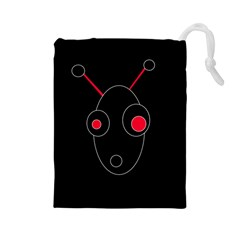 Red alien Drawstring Pouches (Large)