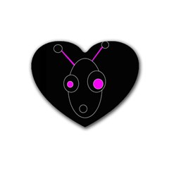 Purple alien Rubber Coaster (Heart)