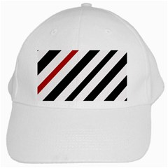 Red, black and white lines White Cap