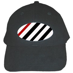 Red, black and white lines Black Cap