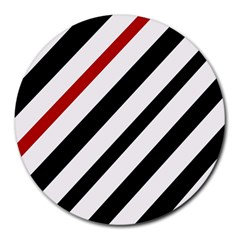 Red, black and white lines Round Mousepads