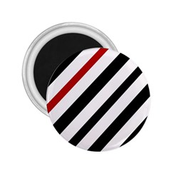Red, black and white lines 2.25  Magnets