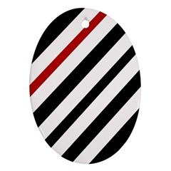 Red, black and white lines Ornament (Oval)