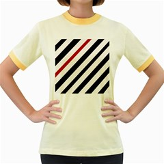Red, black and white lines Women s Fitted Ringer T-Shirts